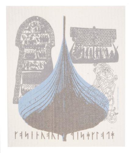 Swedish dish cloth, Viking Ship design
