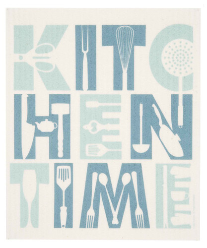 Swedish dish cloth, Aqua Kitchen Time design