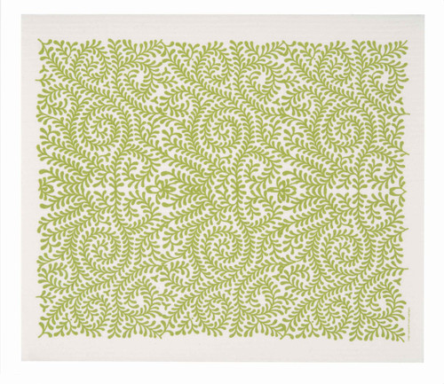 Swedish drying mat, Green Leaves design