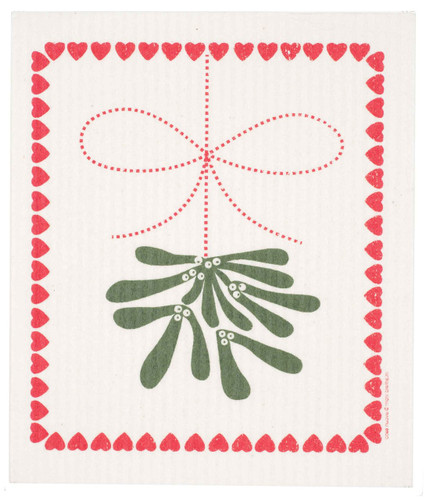 Swedish Christmas dish cloth, Mistletoe design