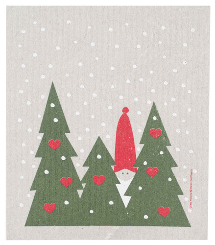 Swedish Christmas dish cloth, Tomte in Forest design