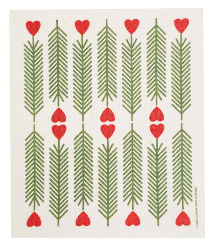 Swedish Christmas dish cloth, Pine Hearts design