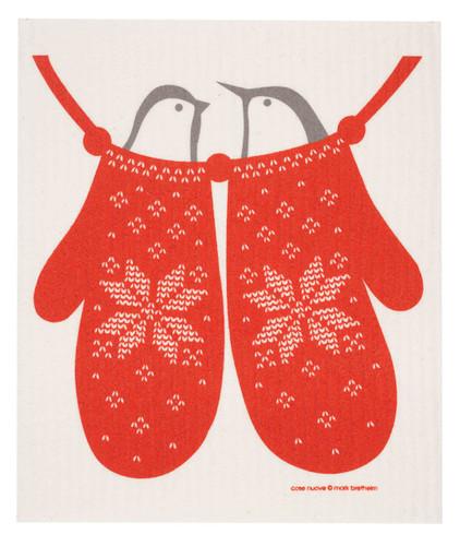 Swedish Christmas dish cloth, Birds in Mittens design