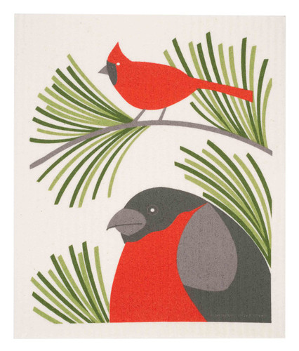 Swedish Christmas dish cloth, Cardinals design