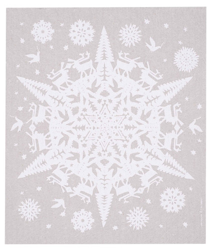 Swedish Christmas dish cloth, Gray Papercut Snowflake design