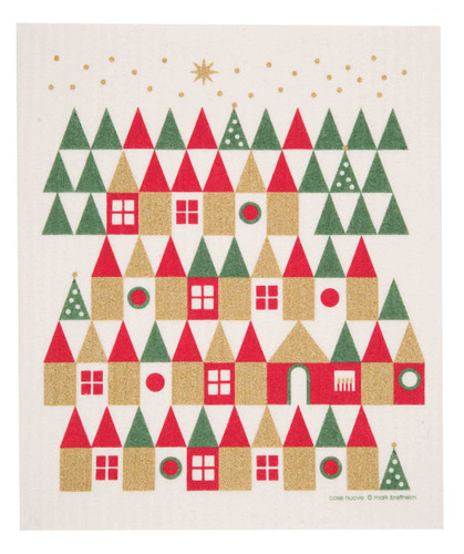 Swedish Christmas dish cloth, Holiday Village design