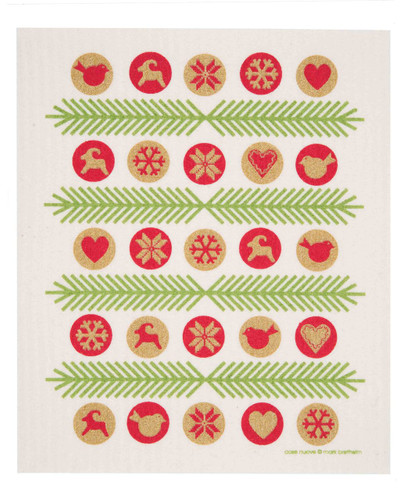 Swedish Christmas dish cloth, Gold Ornaments design