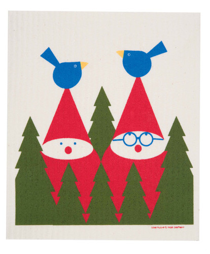 Swedish Christmas dish cloth, Tomte & Birds design