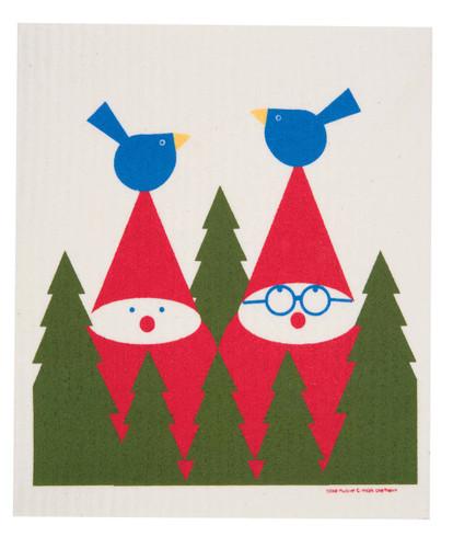 Swedish Christmas dish cloth, Tomte & Birds design