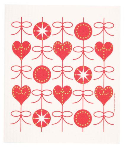Swedish Christmas dish cloth, Hearts and Bows design