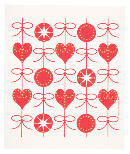 Swedish Christmas dish cloth, Hearts and Bows design