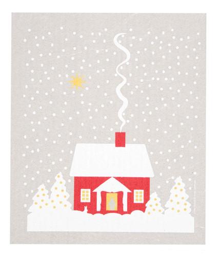 Swedish Dishcloth, Snowy House design