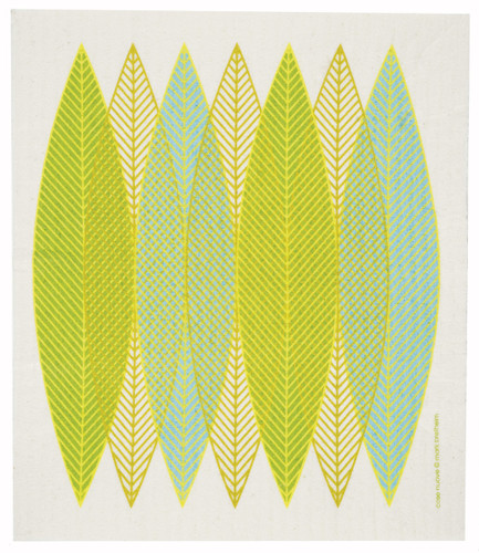 Swedish Dishcloth, Green Blade Leaves design