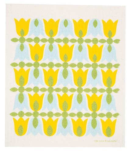 Swedish dish cloth, Yellow Tulip Blossoms design