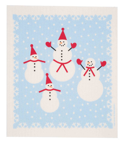 Swedish Dishcloth - Snowmen design