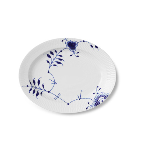 "Royal Copenhagen Blue Fluted Mega, 12.25"" Oval Accent Dish."