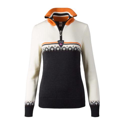 Dale of Norway, Lahti ladies sweater in Dark Charcoal/Orange Peel/Off White, 93231-E