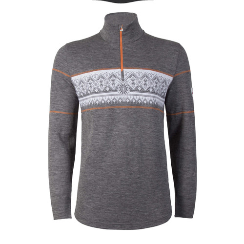 Model wearing Dale of Norway's Rondane Pullover, Mens, in Smoke/White/Orange Peel, 92691-T