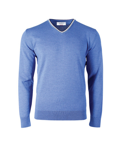Dale of Norway, Kristian Sweater, Mens, in Medium Blue Mel/Light Grey/Off White Mel/Navy Mel, 93131-H