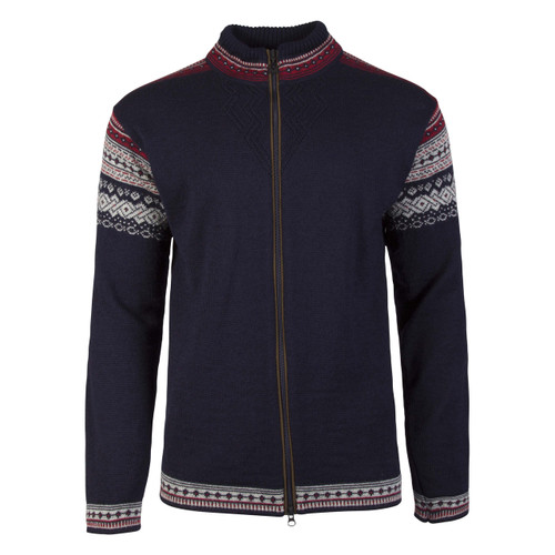Dale of Norway Bergen cardigan, mens, in Navy/Light Charcoal/Red Rose, 83171-C, on sale at The Nordic Shop