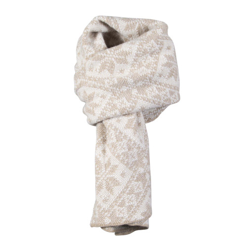 Dale of Norway, Rose Unisex Scarf in Beige Mel/Off White, 11661-P