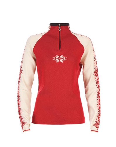 Ladies Dale of Norway Geilo Sweater in Raspberry/Off White/Navy, 82311-B