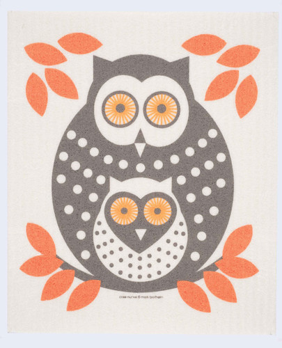 Swedish Dishcloth, Orange Owls design