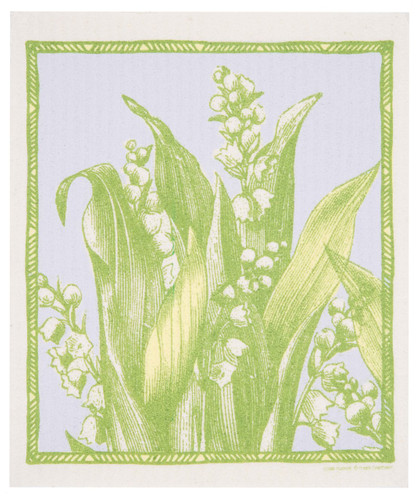 Swedish dish cloth, Lily of the Valley design
