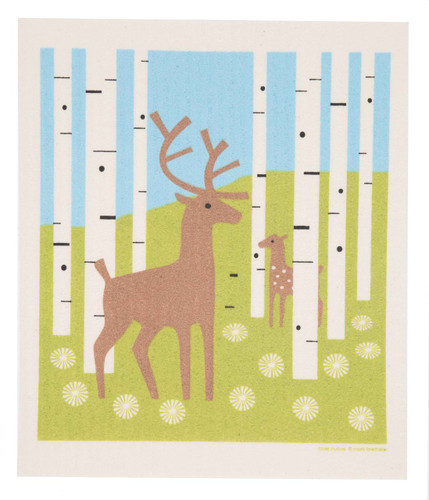 Swedish dish cloth, Deer in Forest design