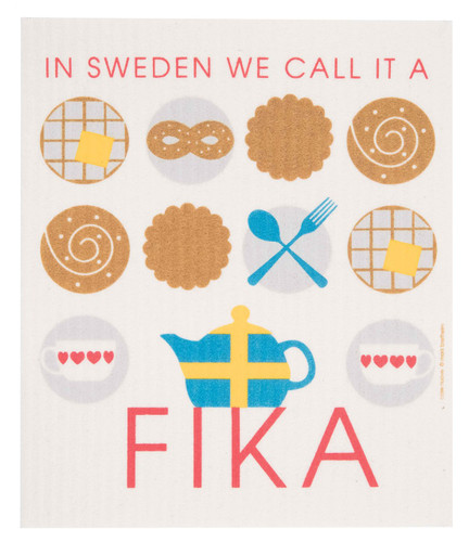 Swedish dish cloth, Fika design