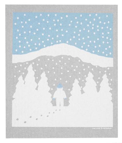 Swedish Christmas dishcloth - Snowy Mountain design