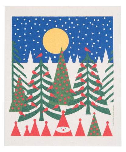Swedish Christmas dishcloth, Birds in Pines design