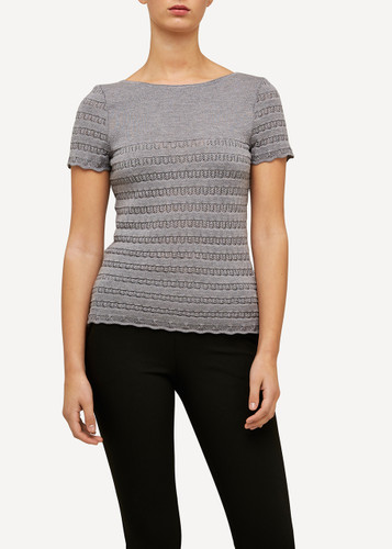 Molly Oleana Short Sleeve Top with Lace Pattern, 309D Grey