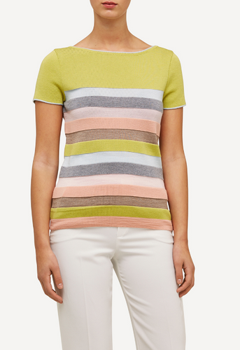 Oleana Short Sleeve Top with Wide Stripes, 310Y Yellow