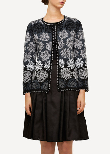 Model wearing Freja Oleana Medium Length Cardigan, Flowers, 329O Black