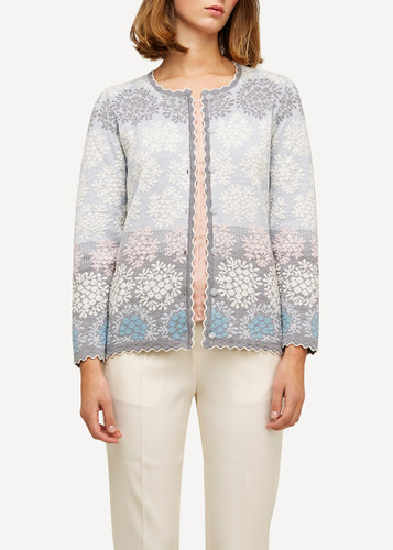 Model wearing Freja Oleana Medium Length Cardigan, Flowers, 329Q Light Blue
