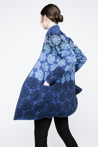 Anne Oleana Long Length Cardigan, Flowers, 330F Blue