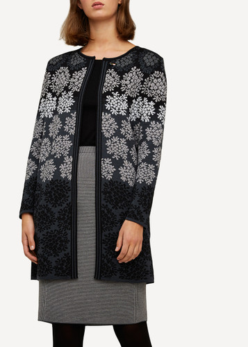 Anne Oleana Long Length Cardigan, Flowers, 330O Black