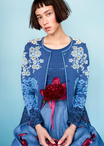 Sakura Oleana Medium Length Cardigan, 332F Blue