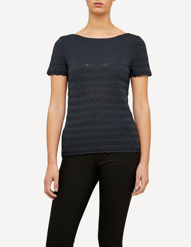 Molly Oleana Short Sleeve Top with Lace Pattern, 309D2 Dark Grey