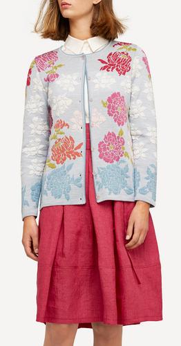 Oleana Medium Length Cardigan, New Floral - Peonies, 333Q Light Blue