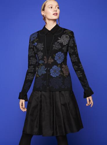 Oleana Medium Length Cardigan, New Floral - Peonies, 333O Black