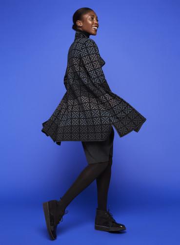 Julia Oleana Long Collar Cardigan - Portugal Tiles, 338O Black