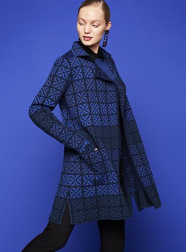 Julia Oleana Long Collar Cardigan - Portugal Tiles, 338W Blue