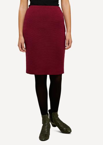 Ester Oleana Short Knitted Skirt, 321K Burgundy