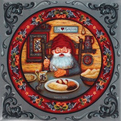 Suzanne Toftey tile showing a Nisse Eating Lutefisk