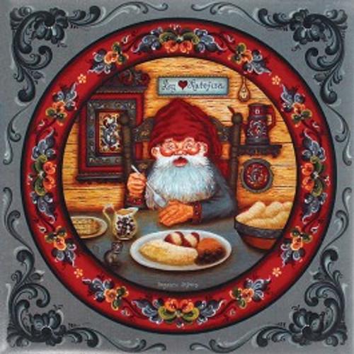 Suzanne Toftey Tile - Nisse Eating Lutefisk