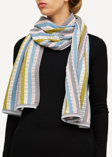 Else Oleana Striped Shawl, 323D Grey