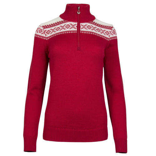 Dale of Norway Cortina Merino sweater in Raspberry/Off-White, 93811-B