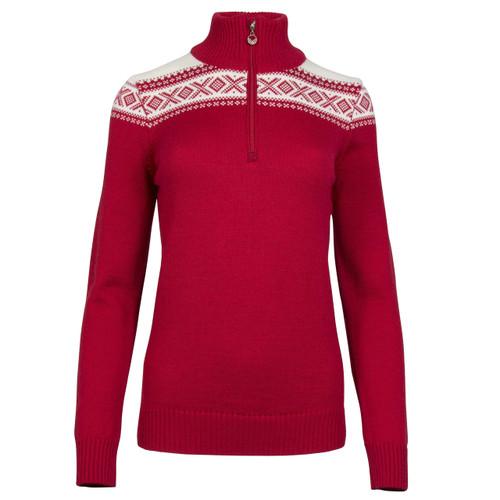 Dale of Norway Cortina Merino sweater in Raspberry/Off-White, 93811-B